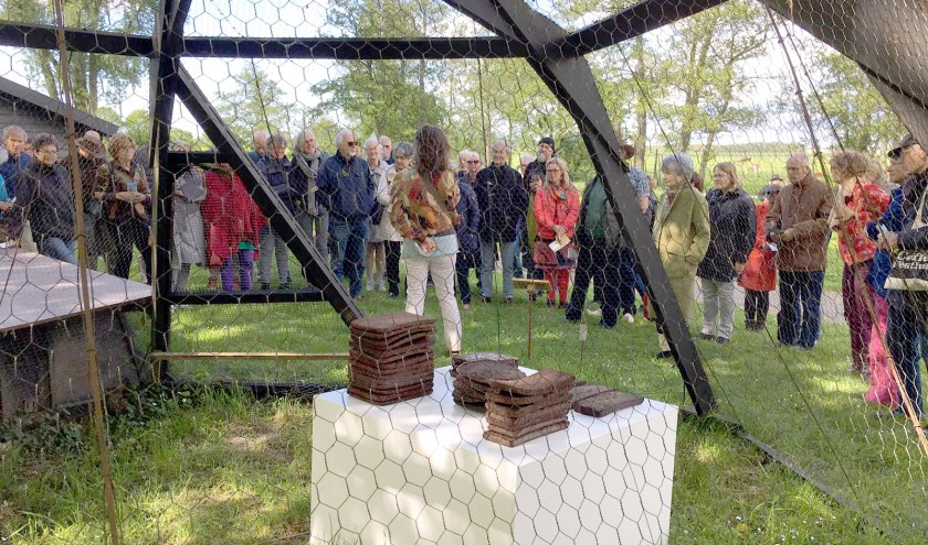 Beeldend kunstenaar Natascha J.A. Rodenburg heeft haar werk uit veiligheidsoverwegingen achter gaas gezet. (foto: Stichting Leefgoed De Olifant)