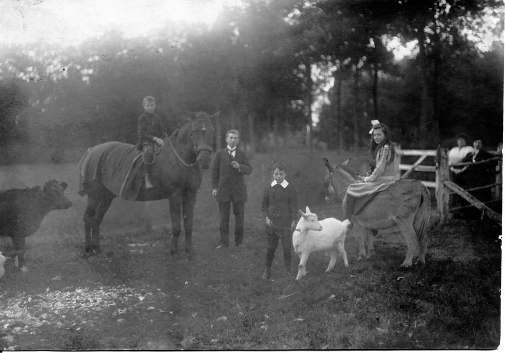 De drie kinderen van Marie-Eugénie de Locht-Mahie…..Charles (op paard links), Marius (bij bokje) en Jeanne (op paard rechts)…..waarschijnlijk met hun vader Louis de Locht. Foto: Heemkunde Boxtel © MooiBoxtel