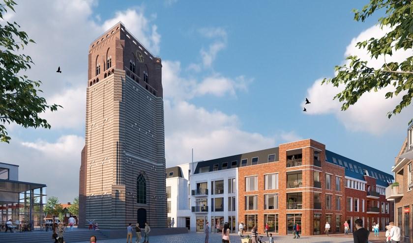 Bijlage: Impressie van De Raadskamer Onderschrift: De parkeergarage is via de Schijndelseweg toegankelijk, waar ook de hoofdentree van de appartementen is. Tegenover de toren wordt een tweede entree gemaakt.    | Fotonummer: 7240bc