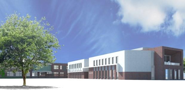 Een impressie van de nieuwe school.  Het gedeelte met de witte steen is het gebouw waar Eben-Haëzer in kom te zitten. Dat is nieuwbouw.