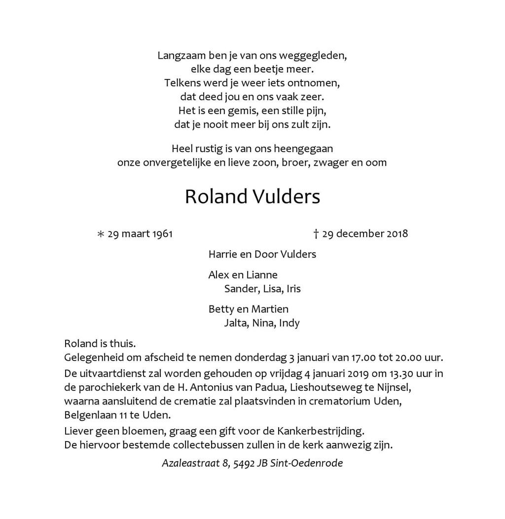 Overlijdensbericht Roland Vulders.  © MooiRooi