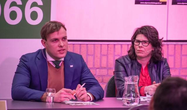 D66-lijsttrekker Thierry de Heer naast PvdA-frontvrouw Wendy de Koning. Foto: Dennis van Loenhout © Minerve Pers