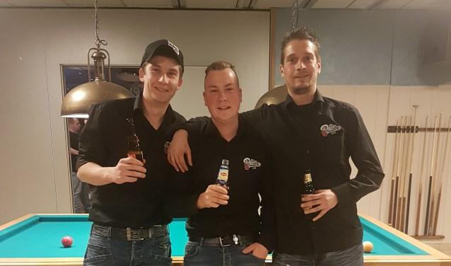 Het kampioensteam met Stan Broeders, Jannes Deurlo en Dennis van der Linde.