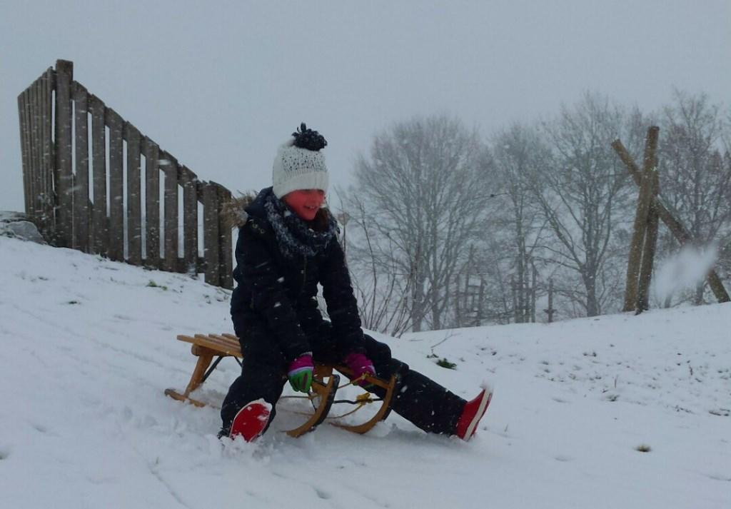 Fleur ging met haar slee de helling af op Zuiderpark in Uden in een grote sneeuwbui  Foto: Jan-Hein Dielissen © Kliknieuws Uden
