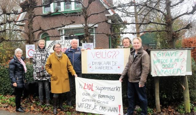 Gravenaren protesteren tegen de komst van de Lidl.