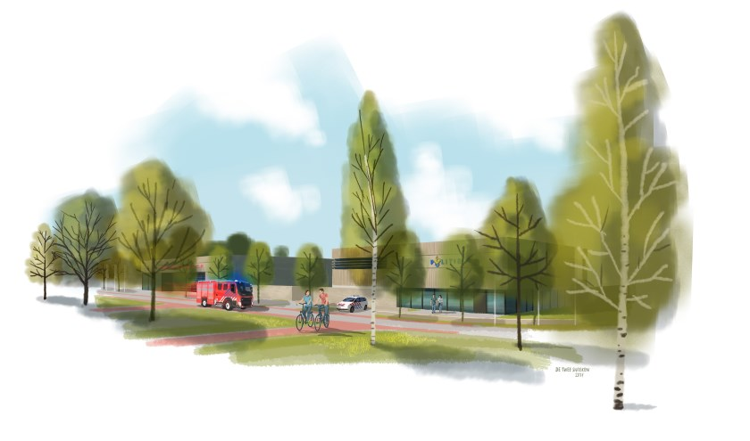 De schets van de nieuwbouw van het politiebureau en de brandweerkazerne