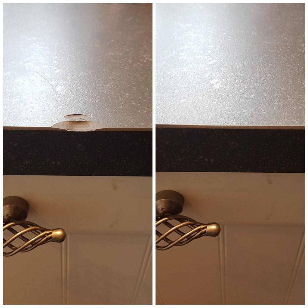 Voor en na, een gerepareerd keukenblad.  © Kliknieuws Veghel