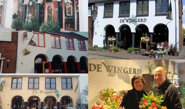 Bloemenhuis De Wingerd door de jaren heen. Rechtsonder trotse eigenaren Maja en Wilfred Olijhoek.