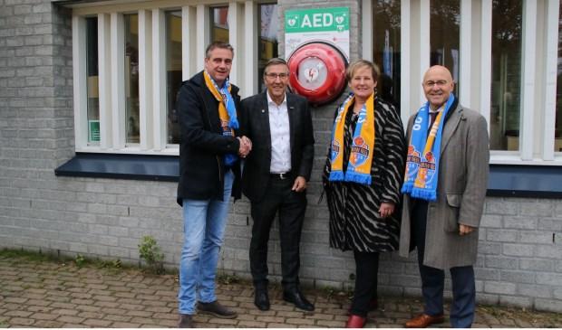 Vlnr:Edwin van den Boom, Klaas Haan Wethouder Coby van de Pas, en burgemeester Kees van Rooij