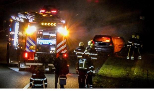 Brandende auto op A50 bij Ravenstein