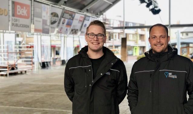 Glenn de Vocht en Jeroen van den Nieuwenhuizen in de tent van Veghel on Ice.