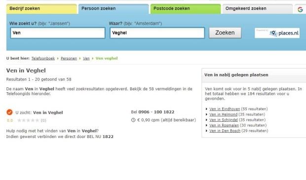 De lijst is samengesteld op basis van het aantal vermeldingen op Telefoonboek.nl.