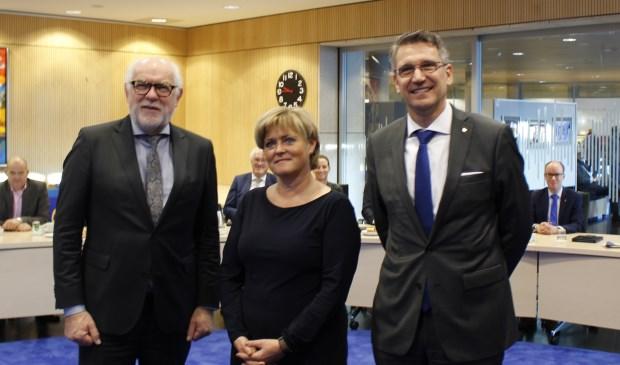 De drie burgemeesters van de CBA-gemeenten Karel van Soest, Marleen Sijbers en Wim Hillenaar.