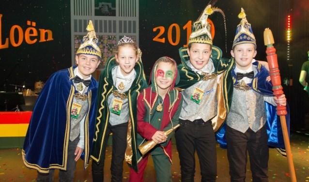 Prins Cas I zal samen met zijn Prinses Jans, Nar Teun en adjudanten Gijs en Bas over het Huibuukskes heersen. (foto: Albert Hendriks)