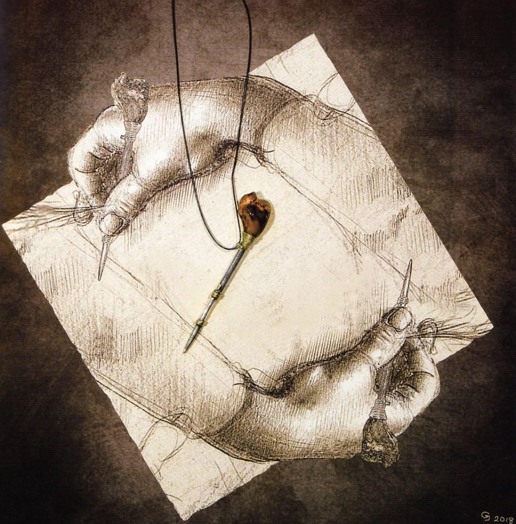 Giedymin Jablonski (Polen), Drawing Hands and Silverpoint - a tribute to M.C. Escher and Leonardo da Vinci, 2018, object, barnsteen, zilver, pigmentprint op papier.   © Kliknieuws Veghel