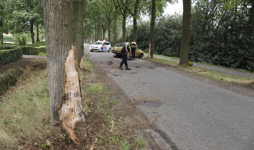 Automobilist botst op drie bomen naast Lactariaweg in Stevensbeek.