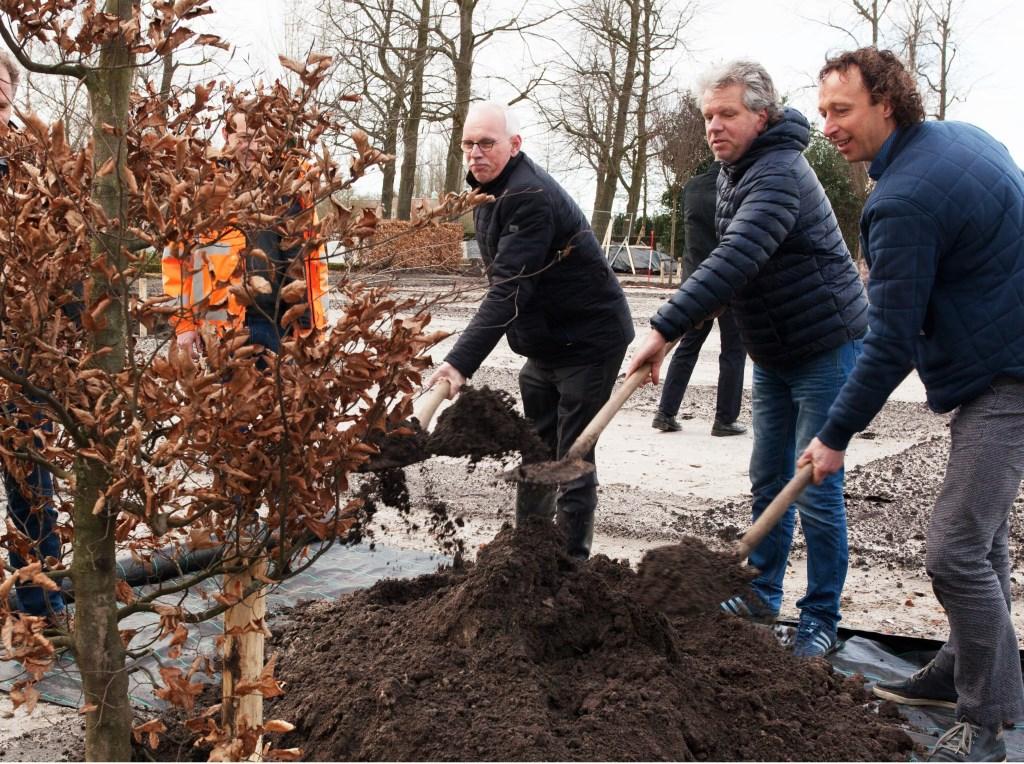 Wethouder Kees Oskam plant, samen met de veretgenwoordigers van de vroegere grondeigenaren Ard Op 't Landt (rechts) en Kees Bakker, de eerste boom