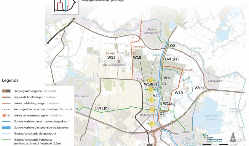 Scenario 5. Het doortrekken van de ringweg oost, lang Reeuwijk-Dorp en Tempel. Bron: beterbereikbaargouwe.nl