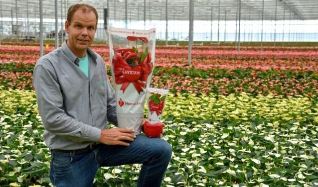 Anthuriumteler Marco van der Goes uit Hoek van Holland zet zich ieder jaar in voor de Hartstichting.