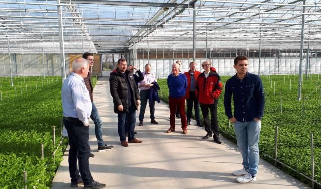 Vijf raadsleden en twee duoraadsleden bezoeken tuinbouwbedrijven.
