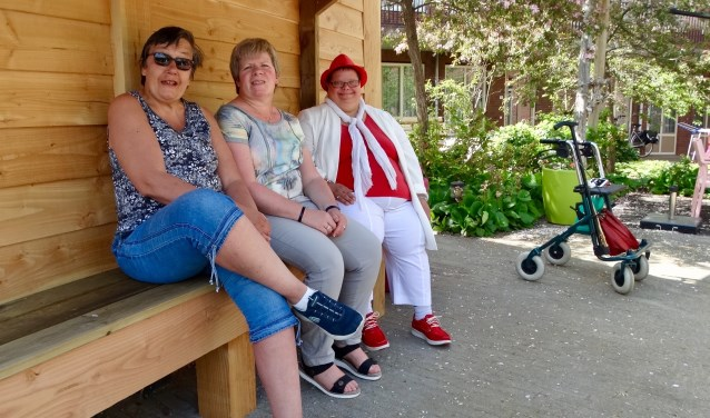 Joke, Anneke en Rosemarie poseren trots bij de blokhut, de nieuwste aanwinst in de tuin.