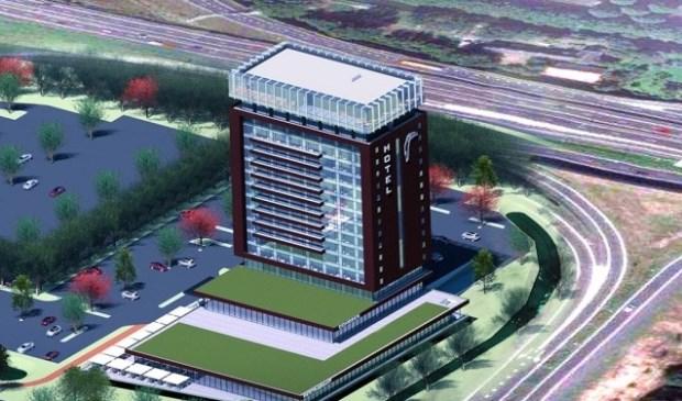 Buurgemeente Zoetermeer krijgt een Van der Valk hotel. Op de illustratie afgebeeld een nieuw Valk Exclusief hotel, dat in Schiedam gebouwd gaat worden. (Foto: www.valkexclusief.nl/)