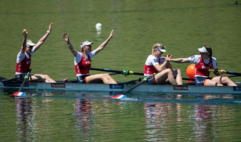 De vrouwen vierzonder, die eerder dit seizoen Europees kampioen werden, zijn ook van de partij. (Foto: Merijn Soeters)