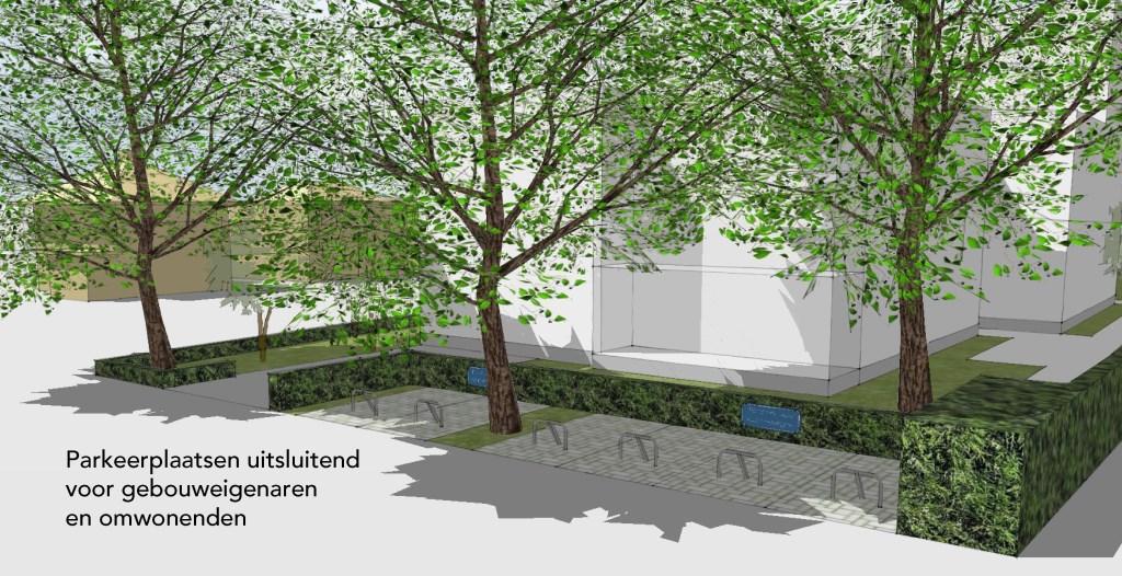 Er komen zes parkeerplaatsen met beugel aan de kant van de Ravelstraat.  © Baruitgeverij