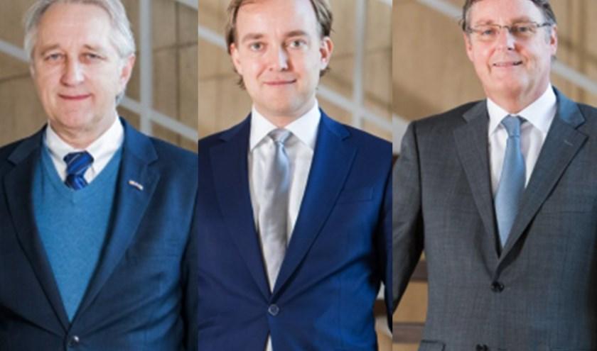De wethouders Vermaat, Van der Linden en Luijendijk.