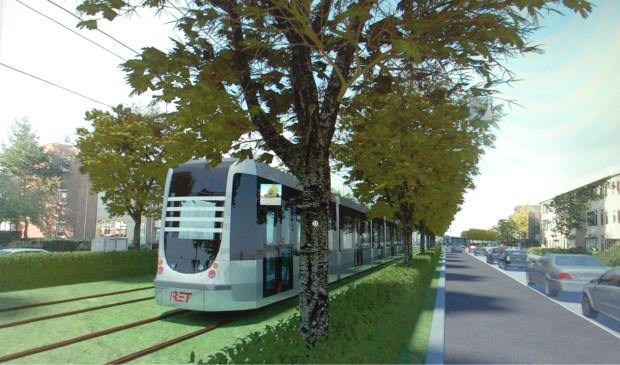 Plaatjes van een tram over de Koninginneweg zijn in de visie van Ridderkerk niet aan de orde