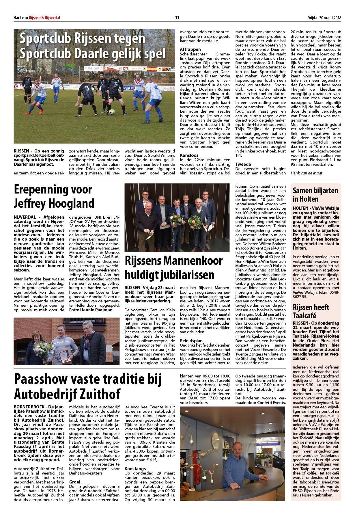 Hart van Rijssen Nijverdal 23 maart 2018