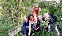 De wijktuin Achterveld is twee insectenhotels, een pruimenboompje en bloembollen rijker: een bijdrage van leerlingen van groep 8 van De Opstap. Foto: Bernard Brosi