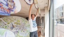 Kunstenaar heeft op een getekende plattegrond de thema's op de pleinen 'prikkelend' weergegeven. Foto: E.Zuurbier