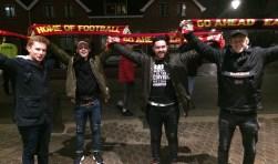 Vier Eagles-fans uit Ipswich maakten vorige maand hun 'debuut' tijdens PSV - Go Ahead Eagles.