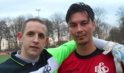 Scherpschutter Remy Holster en zijn doelman Pim Versluis (l) waren goud waard voor EBOH (Foto: Don Fredo)