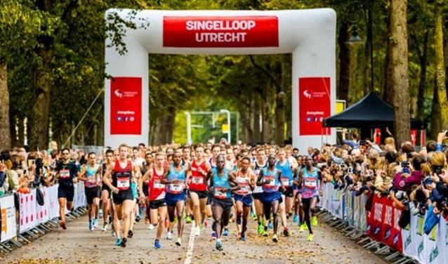 Ruim 10.000 lopers maken van de 67ste editie van de Singelloop is een prachtig loopfeest in de Utrechtse binnenstad, Benard Kimeli pakt de winst. Foto: Bart Hoogveld