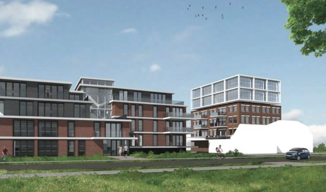 In totaal 52 appartementen op een oppervlakte van nog geen 3400 m2. Slagerij Van Rooy op de hoek is wit weggelakt. Beeld: Prodin Vastgoed.