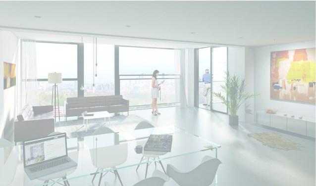 Een sfeerimpressie van appartement type 'De Majoor'. In de woontoren zullen verschillende appartement typen te vinden zijn.