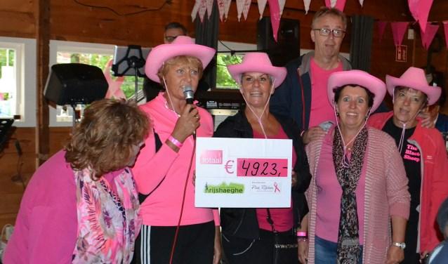 Het georganiseerde tennistoernooi met een veiling en loterij leverde een prachtig bedrag van €4923,- op voor Pink Ribbon.