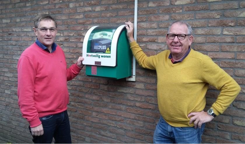 """Herman Vrielink (l) en Rommy te Vaarwerk controleren de AED bij fysiotherapiepraktijk Jansen van den Berg in Vorden. """"Iedereen die daar fysiek toe in staat is, kan een AED-training volgen."""" (foto: Ceciel Bremer)"""