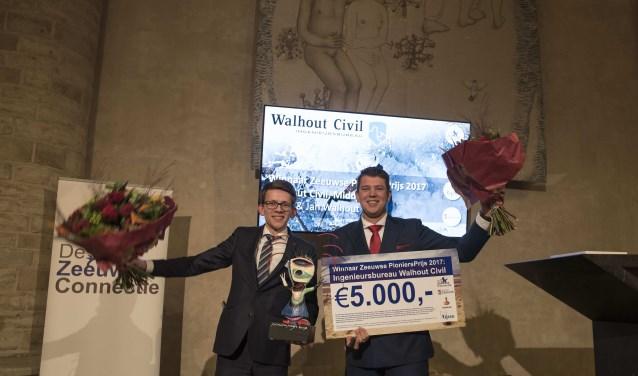Jan en Korné Walhout, eigenaren van ingenieursbureau Walhout Civil, winnen de Zeeuwse PioniersPrijs 2017. FOTO: Marijana Pajovic