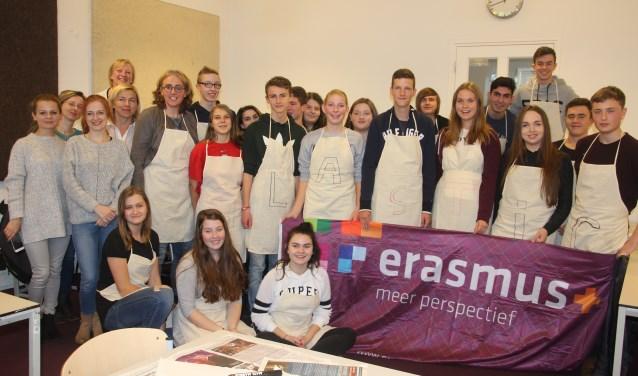 Alle deelnemers aan het unieke uitwisselingsproject van het OSG Erasmus samen op de foto