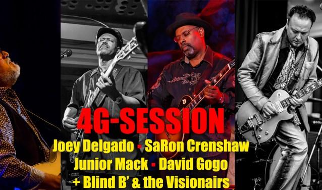 Vier van de beste leadgitaristen van de wereld (SaRon Crenshaw, Junior Mack, Joey Delgado en David Gogo)treden ook op, eerst solo en dan samen. (Foto: Flint)