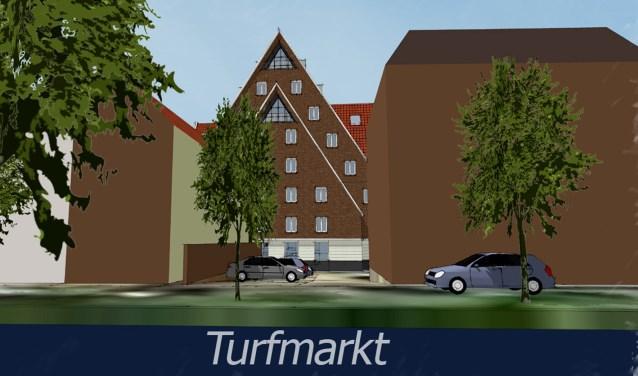 Artist impressie van het nieuwbouwplan Turfmarktlocatie. Binnenkort wordt een nieuw ontwerp gepresenteerd.