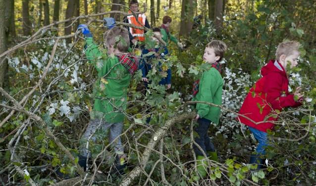 Leden van scouting Valburg zijn in het bos aan de Langstraat druk bezig met het sjouwen van takken die even verderop door volwassenen zijn afgezaagd. De kinderen leggen takken links en rechts neer zodat voor wandelaars duidelijk is waar het pad ligt. (foto: Ellen Koelewijn)