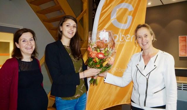 Van links naar rechts: Bettina Jonker (WGSP), Ellen Aitink (Globen) en wethouder Economische Zaken Inge Nieuwenhuizen. (Foto: gemeente IJsselstein)