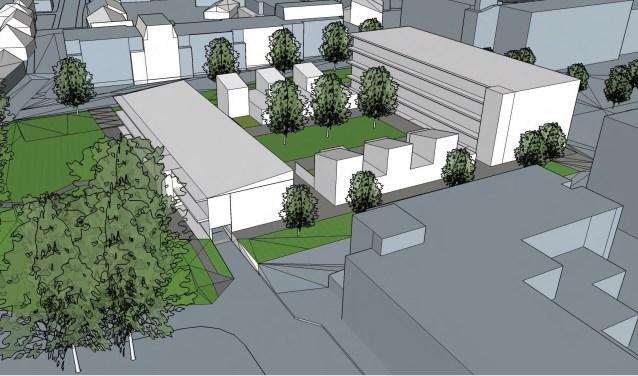 Een van de drie ontwerpen voor de locatie waar nu de Olympiahal nog staat. Afbeelding: Gemeente Wageningen