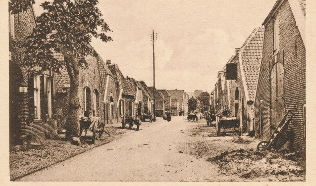 Een hoogspanningsmast tussen de boerderijen aan de Walstraat.
