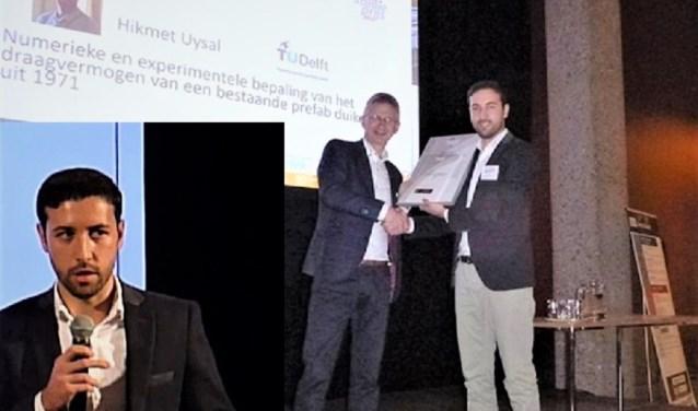 Hikmet Uysal krijgt de eerste prijs uitgereikt door juryvoorzitter prof.dr.ir.Theo Salet (l). Inzet: Hikmet Uysal. (Foto's Arcadis)