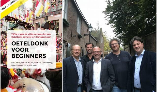 De redactie van Oeteldonk voor Beginners. Van links naar rechts: Rob van de Laar, Huub van Mackelenbergh, Bert Damen, Hans Tervoort en Roger Schouten. Fotograaf Gerard van Kessel staat niet op de foto.